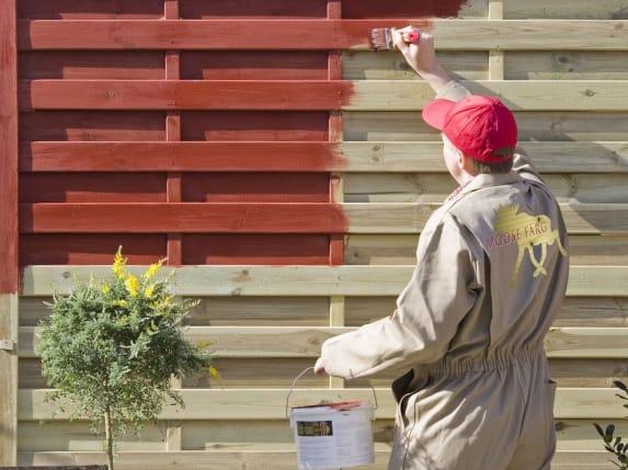Tuinhuis tuinhuis hout behandelen : sku00e5ne gul houtverf moose f schutting met kleurloze impregnering ...