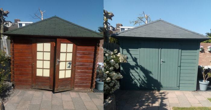 Tuinhuis Zweeds blauw Bohus bla opgeknapt