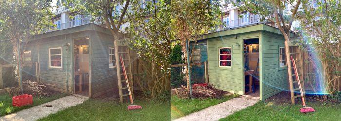 Tuinhuis verven - voor en na foto's