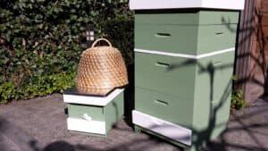 Bijenkast verven mate groene verf