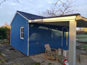 Tuinhuis blauw beitsen